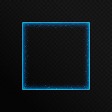 A Colorful Blue Neon Frame With Shiny Particles And Bright Stars On A Translucent Background. Vector Illustration With Bright Blue Borders