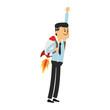 Businessman flying with jetpack vector illustration graphic design