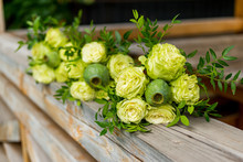 Flowers Of Green Roses In A Bo...