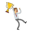 Businessman with trophy cup vector illustration graphic design