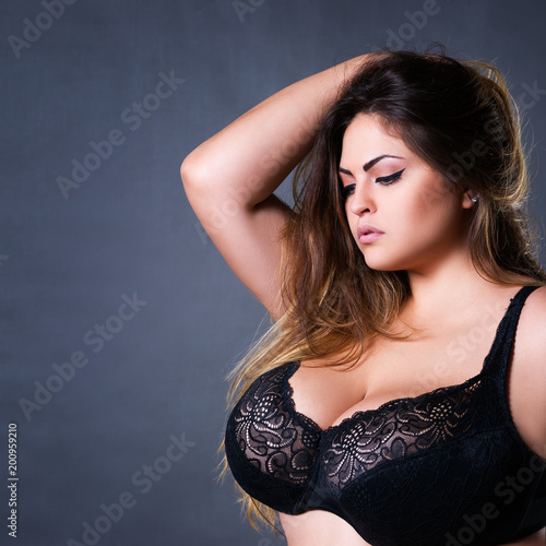 Plus Size Sexy Model In Black Bra Fat Woman With Big Natural Breast On Gray