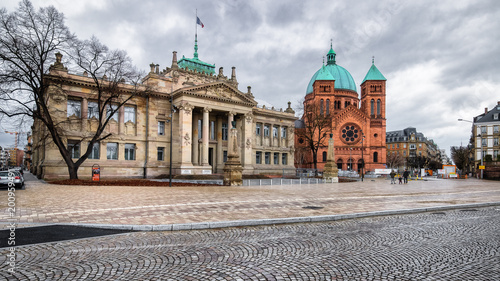 Justice palace and catholic church architecture in Strasbourg, Alsace France Fototapeta