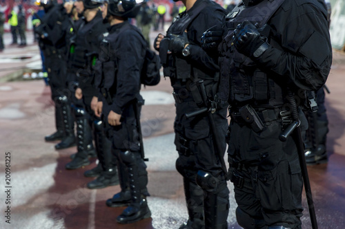 Fényképezés  Special police unit at the stadium event secure a safe match