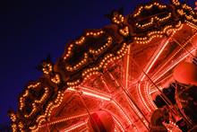 Beautiful Bright Carousel In Amusement Park,night