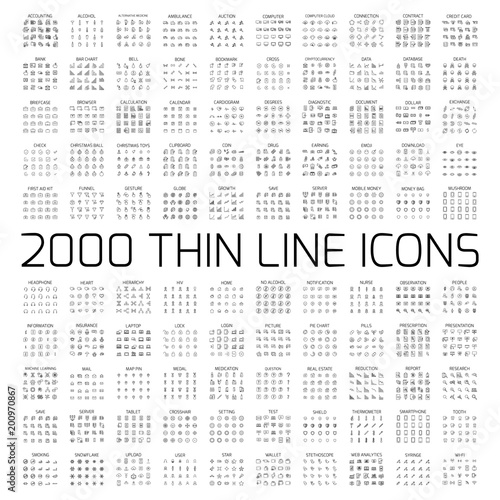 Exclusive 2000 thin line icons set Fototapeta