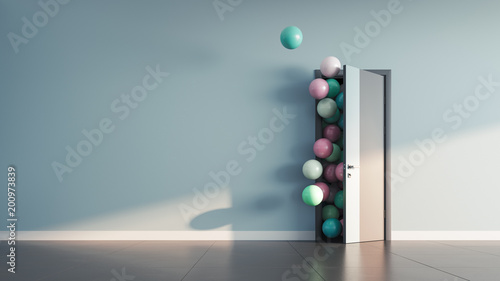 Stampa su Tela Balloons fly away through open door