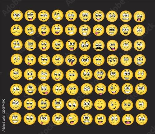 Photo emoji set. emotion set. vector illustration