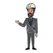 Engineer male cartoon vector illustration graphic design