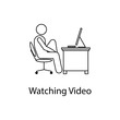 worker is watching video icon. Element man in front of a computer in the workplace for mobile concept and web. Thin line icon for website design and development; app development