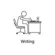 worker is writing icon. Element man in front of a computer in the workplace for mobile concept and web apps. Thin line icon for website design and development; app development