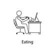 worker is eating icon. Element man in front of a computer in the workplace for mobile concept and web apps. Thin line icon for website design and development; app development