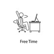 worker in free time icon. Element man in front of a computer in the workplace for mobile concept and web apps. Thin line icon for website design and development; app development