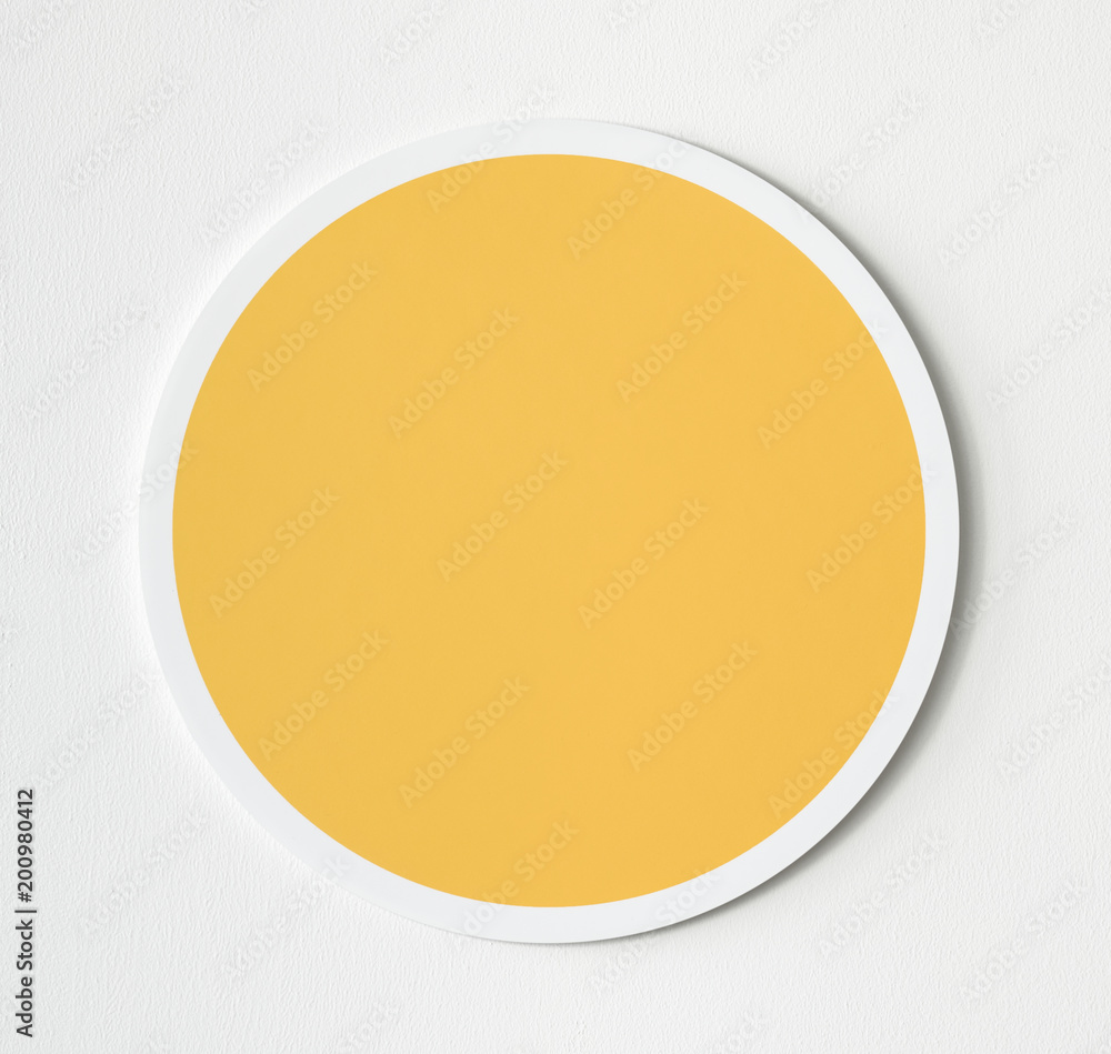 Fototapety, obrazy: Yellow circle button icon isolated