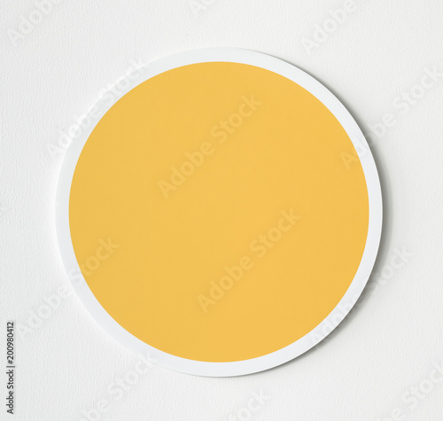 Valokuva  Yellow circle button icon isolated