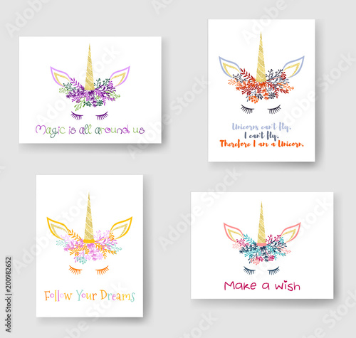 Unicorn horn in flowers and twigs wreath tiara illustration on cards ... 105b6211c2b