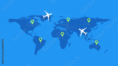 Fotografija  Infographic Vector Illustration With Planes, Dotted Direction Paths And Map Pointers Over Worldmap