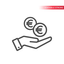 Outline Flat Icon Of  Euro Coi...
