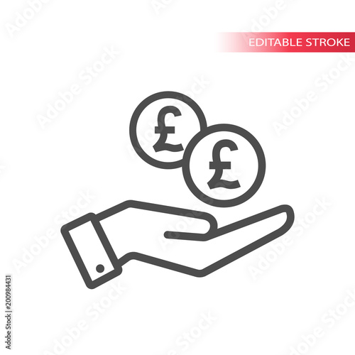 Outline Flat Icon Of Pound Coins Falling In Hand Hand And Coins