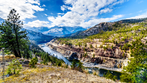 Photo  The famous Fraser Canyon Route following the Thompson River as it flows through