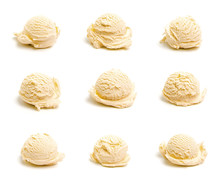 Collage Of Nine Different Scoops Of Ice Cream.