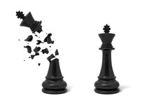 3d Rendering Of Two Isolated Black Chess Kings Stand Near Each Other With One Of Them Cracked And Broken.