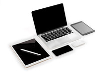 Office Table With Laptop Computer, Digital Tablet, Smartphone, Pencil And Mouse On Isolated Pure White Background / Laptop And Tablet Mockup Concept. (Selective Focus)