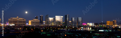 Las Vegas skyline during a full moon.