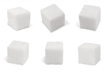 Six 6 Square Cubes Of Sugar Macro Isolated On White
