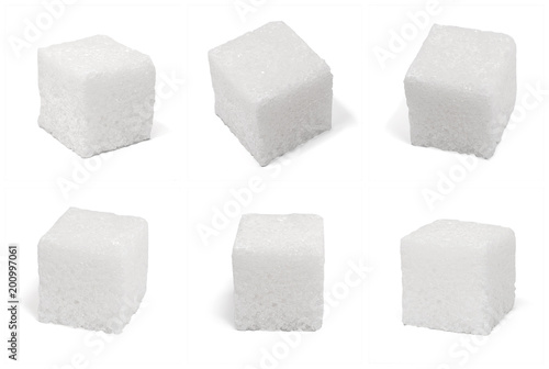 Fotografie, Obraz  six 6 square cubes of sugar macro isolated on white