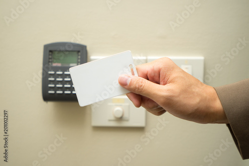 Asian business woman hand holding Access card / Key Card