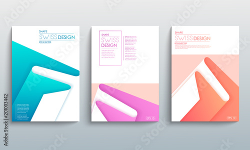 Modern Abstract Covers Set Cool Gradient Geometric Shapes