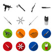 Sword, two-handed sword, gas balloon, shuriken. Weapons set collection icons in monochrome,flat style vector symbol stock illustration web.