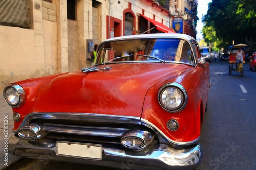 Spoed Fotobehang Centraal-Amerika Landen キューバのクラシックカー