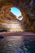 Famous Sea Cave At Benagil Beach In Algarve, Portugal