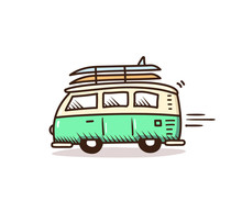 Surf Van Driving To The Beach ...