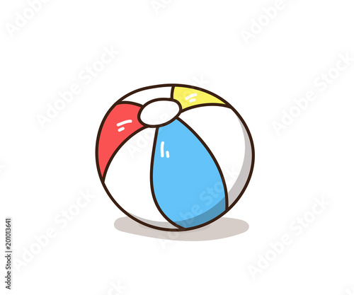 Fototapeta Hand drawn colourful beach ball doodle. Vector illustration graphic element obraz