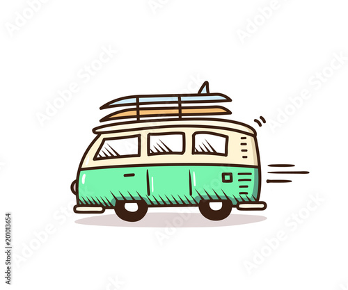 Fototapeta Surf van driving to the beach with surfboards on