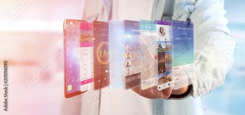 Papiers peints Montagne Businessman holding 3d rendering app template on a smartphone