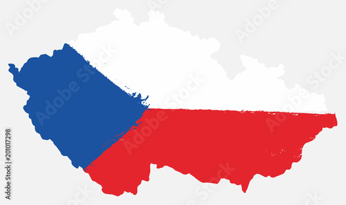 Czech Republic Flag & Map Vector Hand Painted with Rounded Brush Canvas-taulu
