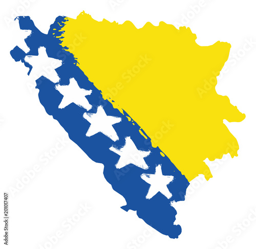 Photo Bosnia and Herzegovina Flag & Map Vector Hand Painted with Rounded Brush