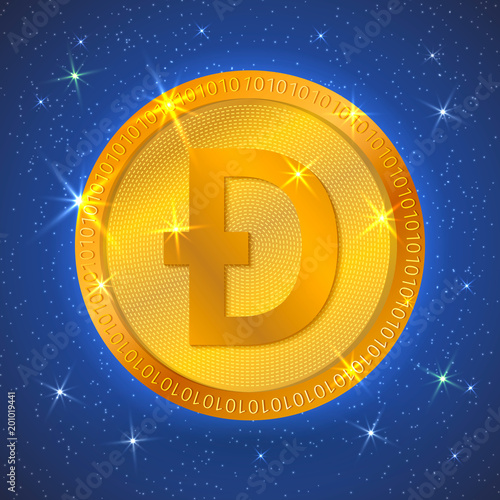 Realistic gold dogecoin icon in space  Cryptocurrency