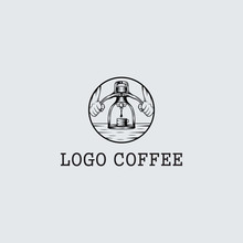 Coffee Logo Design, Espresso Pump - Vector Illustration