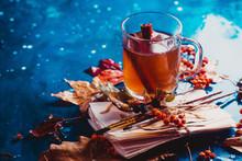 Autumn Tea With Fallen Leaves ...