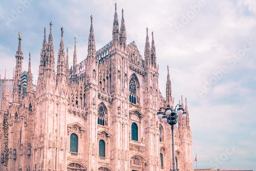 Fotografie, Obraz  Exterior architecture of Milan Cathedral, known as Duomo di Milano, one of the largest churches in the world