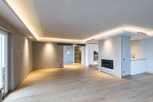 Obraz Large living room in modern apartment - fototapety do salonu