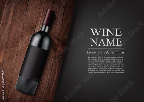 Fototapeta Advertising banner.A realistic bottle of red wine with black label in photorealistic style on wooden dark board,black background like chalk board,text.Wine presentation brochure.Vector illustration obraz