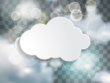 White Cloud Text Box In The Blue Sky With Twinkle Lights On The