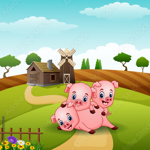 Poster Castle Three little pigs playing together