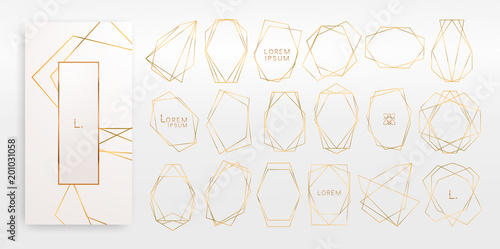 Fotografia  Gold collection of geometrical polyhedron, art deco style for wedding invitation, luxury templates, decorative patterns,