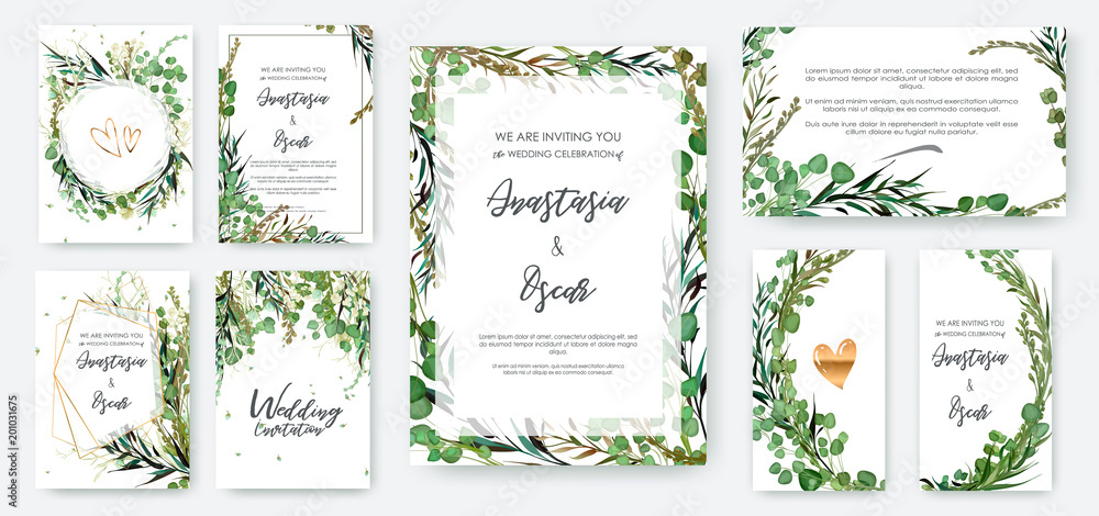 Fototapety, obrazy: Wedding invitation frame set; flowers, leaves, watercolor, isolated on white. Sketched wreath, floral and herbs garland with green, greenery color. Handdrawn Vector Watercolour style, nature art.